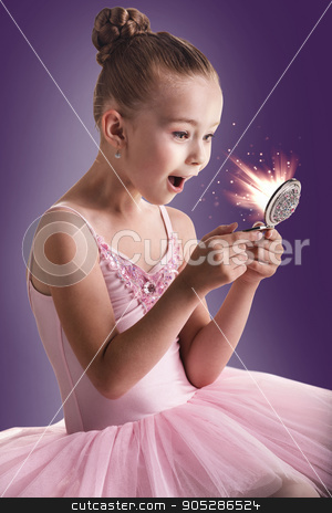 Ballerina children looking in the magic mirror stock photo, Ballerina children dancer in pink tutu looking in the magic mirror by Dmitrii Kotin
