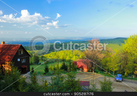 summer mountains green grass and blue sky landscape stock photo, summer mountains green grass and blue sky landscape. by MarySan