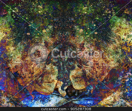 abstract background with colorful pattern and a hint of face stock photo, abstract background with colorful pattern and a hint of face by Miriama Taneckova