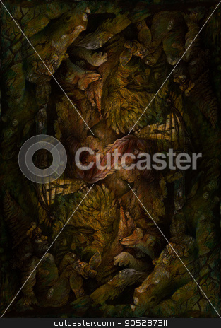 background pattern with dwarves, animals and forest elemental motives, drawing stock photo, background pattern with dwarves, animals and forest elemental motives, drawing by Miriama Taneckova