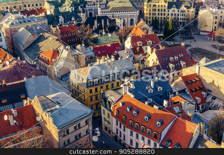 Riga, Latvia: aerial view of Old Town stock photo, Riga, Latvia: aerial view of Old Town in the spring by krivinis