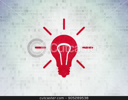 Business concept: Light Bulb on Digital Data Paper background stock photo, Business concept: Painted red Light Bulb icon on Digital Data Paper background by mkabakov