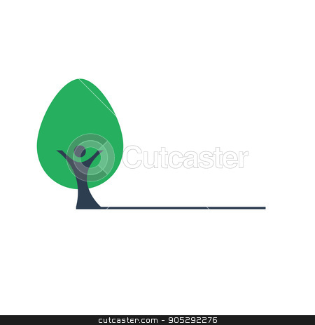 People the trunk and green tree vector icon stock vector clipart, People the trunk and green tree vector icon. Human hands form a smile. Nature and the environment by olegkozyrev