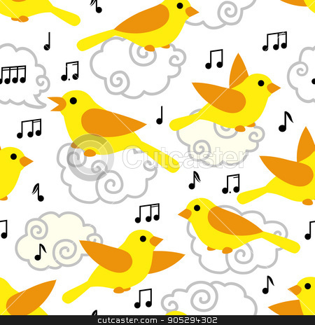 Seamless pattern with cute cartoon birds and notes stock vector clipart, Seamless pattern with cute cartoon birds and notes in the sky. Art vector illustration. by verock