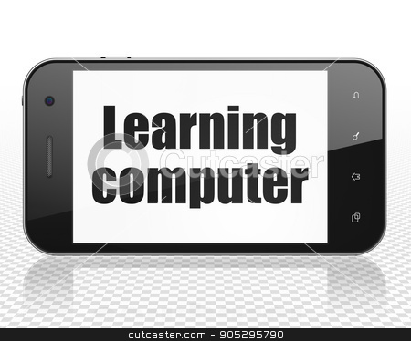 Education concept: Smartphone with Learning Computer on display stock photo, Education concept: Smartphone with black text Learning Computer on display, 3D rendering by mkabakov