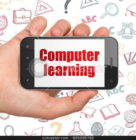 Learning concept: Hand Holding Smartphone with Computer Learning on display stock photo, Learning concept: Hand Holding Smartphone with  red text Computer Learning on display,  Hand Drawn Education Icons background, 3D rendering by mkabakov