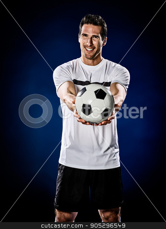 soccer player man isolated stock photo, one caucasian soccer player man isolated on black background by Ishadow