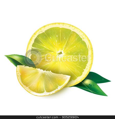Lemon on white background stock photo, Lemon with leaves. Isolated illustration on white background. by ConceptCafe