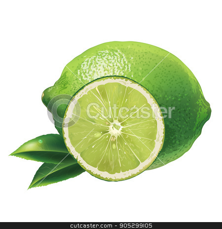 Lime on white background stock photo, Lime with leaves. Isolated illustration on white background. by ConceptCafe