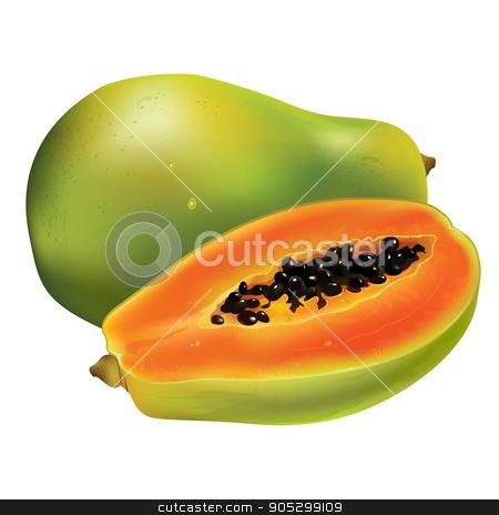 Papaya on white background stock photo, Papaya or pawpaw. Isolated illustration on white background. by ConceptCafe