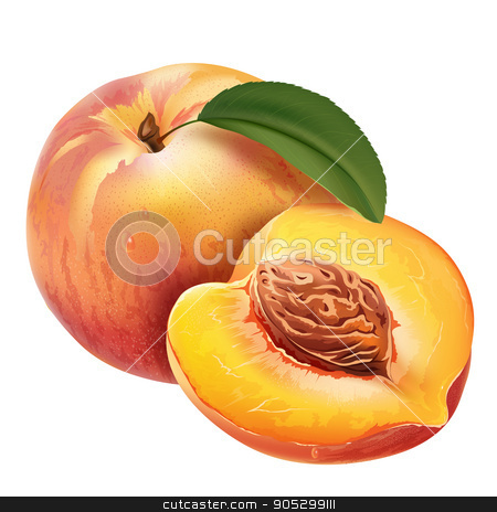 Peach on white background stock photo, Peach with leaves. Isolated illustration on white background. by ConceptCafe