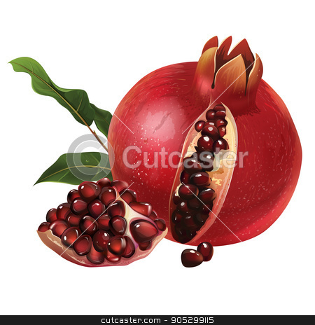 Pomegranate on white background stock photo, Pomegranate with leaves. Isolated illustration on white background. by ConceptCafe