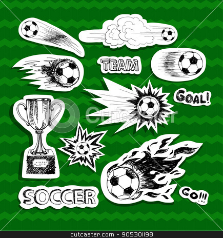 Soccer stickers stock vector clipart, Soccer stickers on green background. With ball. by Loveandrock