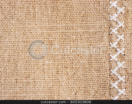 Cotton fabric with cross stitch as background stock photo, Natural cotton fabric with cross stitch close up as background texture by Fascinadora
