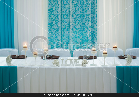 decorations and candles on a wedding table stock photo, decorations and candles on a wedding table by timonko