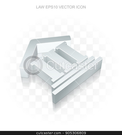 Law icon: Flat metallic 3d Courthouse, transparent shadow, EPS 10 vector. stock vector clipart, Law icon: Flat metallic 3d Courthouse, transparent shadow on light background, EPS 10 vector illustration. by mkabakov