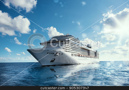 Cruise voyage stock photo, Cruising at sea with reflection on water by Federico Caputo