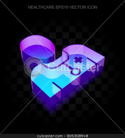 Medicine icon: 3d neon glowing Doctor made of glass, EPS 10 vector. stock vector clipart, Medicine icon: 3d neon glowing Doctor made of glass with transparent shadow on black background, EPS 10 vector illustration. by mkabakov