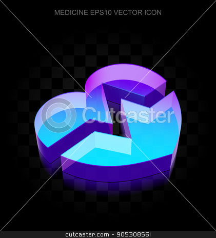 Medicine icon: 3d neon glowing Heart made of glass, EPS 10 vector. stock vector clipart, Medicine icon: 3d neon glowing Heart made of glass with transparent shadow on black background, EPS 10 vector illustration. by mkabakov