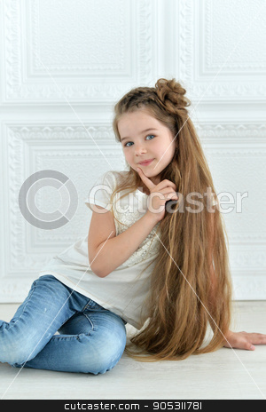 cute little girl posing stock photo, portrait of cute little girl posing in beautiful dress by Ruslan Huzau