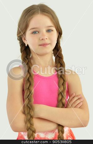 cute little girl posing stock photo, portrait of cute little girl posing in bright dress by Ruslan Huzau