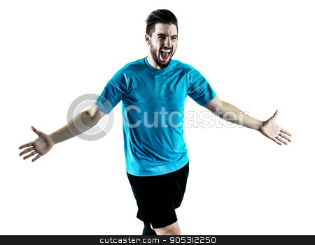 Soccer player Man Isolated stock photo, one caucasian Soccer player Man isolated on white backgound by Ishadow