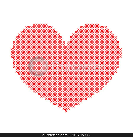 Hand-made big red heart embroidered with a cross stock vector clipart, Hand-made big red heart embroidered with a cross isolated on white background. Art vector illustration. by verock