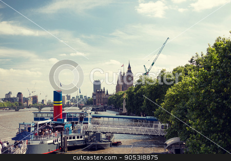 Houses of Parliament and Westminster bridge stock photo, England, London - Big Ben, the Houses of Parliament and Westminster bridge over Thames river by Syda Productions