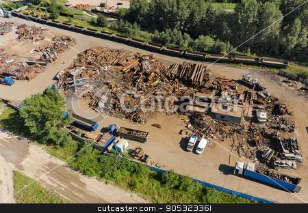 Scrap metal and iron dump stock photo, Tyumen, Russia - August 1, 2016: Iron dump territory on metal reception by Aikon