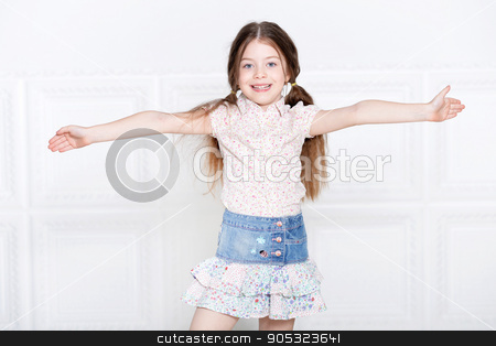 cute little girl posing stock photo, Portrait of a cute little girl posing by Ruslan Huzau