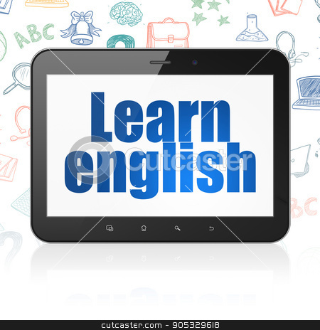 Learning concept: Tablet Computer with Learn English on display stock photo, Learning concept: Tablet Computer with  blue text Learn English on display,  Hand Drawn Education Icons background, 3D rendering by mkabakov