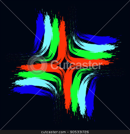 multi-colored dabs 2-01 stock vector clipart, illustration on which multi-colored dabs on a black background are represented by byvivik89