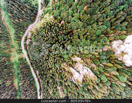 Road in coniferous forest, rocky hills. Mala Fatra, Slovakia stock photo, Aerial view of a road in the middle of coniferous forest, rocky hills. Mala Fatra, Slovakia by HalfPoint