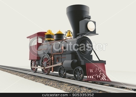 Old American Steam Locomotive 3D illustration stock photo, Old American 4-4-0 Steam Locomotive on white 3D render by Eugene Zabugin