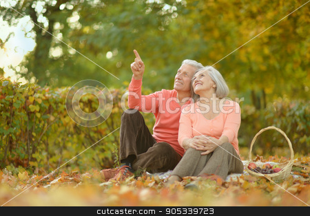 Senior couple in autumn park stock photo, happy Senior couple in autumn park,man pointing at something by Ruslan Huzau
