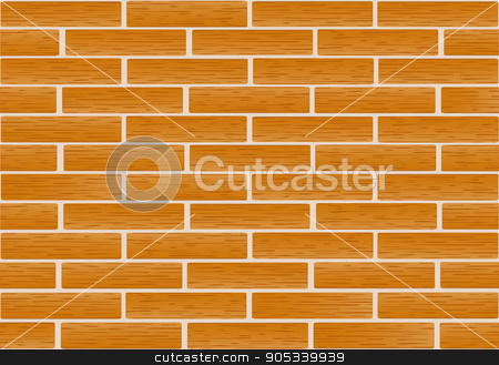 A fragment of a wall made of brown bricks stock vector clipart, Brickwork of ordinary red bricks .  Vector.  Horizontal. by Yulia