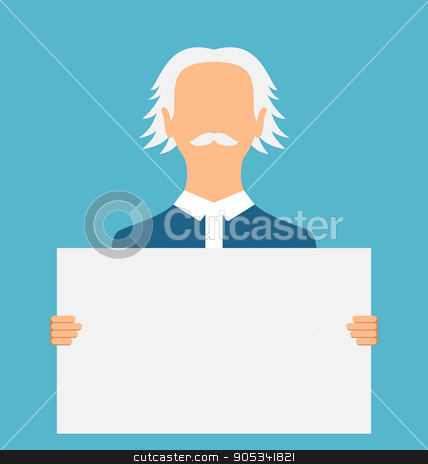 Teacher Holding a Large Clean Banner stock vector