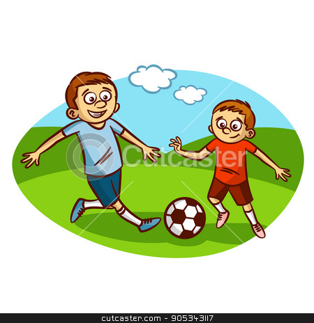 Dad and son playing football stock vector clipart, Dad and son playing football Clipart Vector illustration by ichbinsam