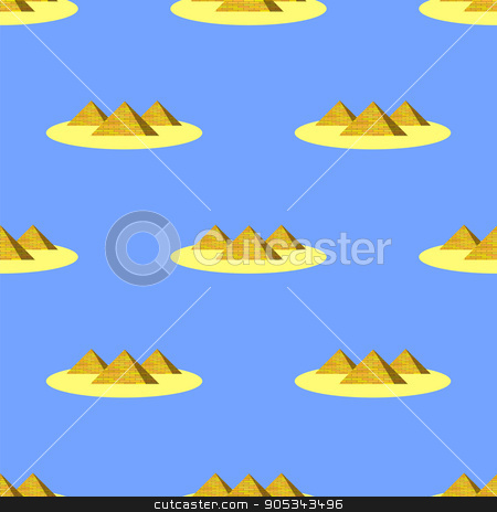 Ancient Pyramids Seamless Historic Background stock vector clipart, Ancient Pyramids Seamless Pattern on Blue. Historic Egiptian Building Background. by valeo5