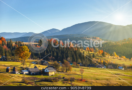 Landscape with village, mountains and blu sky stock photo, autumn Landscape with village, mountains and blu sky by serkucher