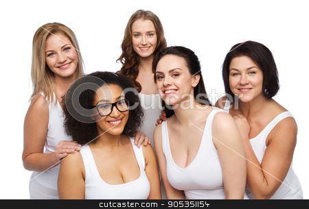 5110453cae8 Similar images  group of happy different women in white underwear ...