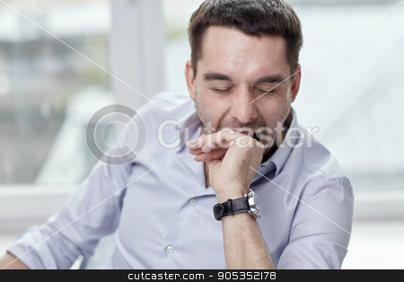 yawning tired man at home or office stock photo, people and tiredness concept - yawning tired man at home or office by Syda Productions