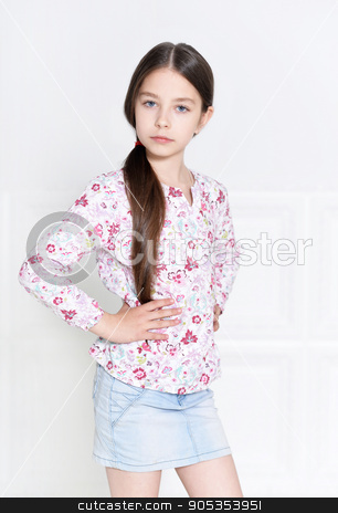 cute little girl posing stock photo, portrait of cute little girl posing in studio by Ruslan Huzau