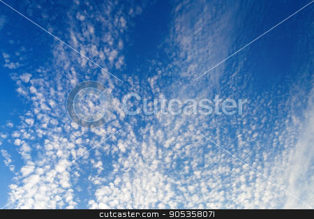 Clouds in the blue sky stock photo, Blue sky with many small fluffy white clouds. Sky with clouds background. by Veresovich