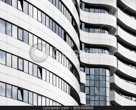 Modern office building stock photo, Abstract fragment of modern architecture. Common modern business industrial architecture. Modern office building. by Veresovich