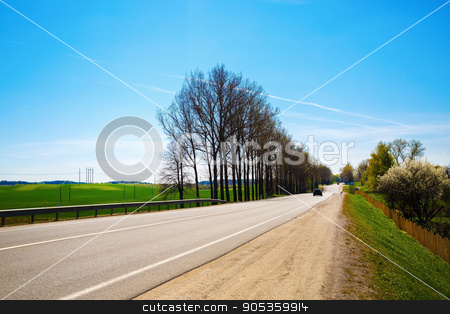 Asphalt road in the countryside stock photo, Asphalt road in the countryside on a sunny summer day. The trees on the roadside. by Veresovich