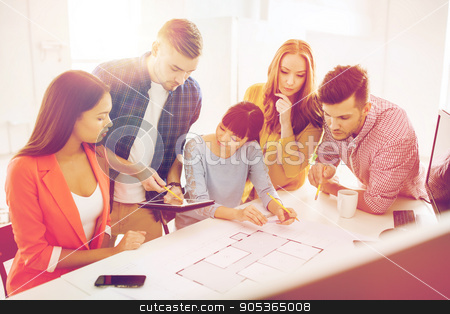 creative team with blueprint working at office stock photo, business, startup, education and people concept - creative architect team or students with blueprint working at office by Syda Productions