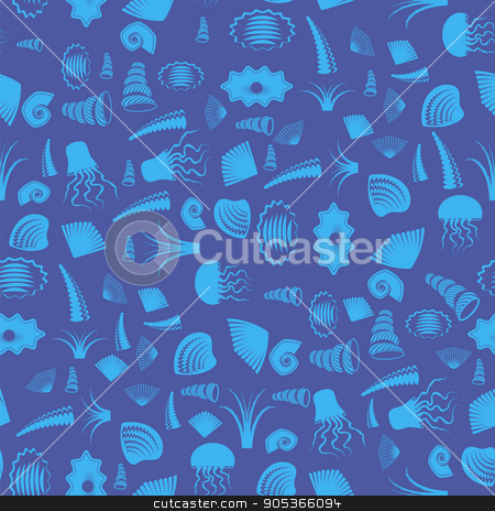 Sea Shell Seamless Pattern. Jellyfish Background stock vector clipart, Sea Shell Silhouette Seamless Pattern on Blue. Jellyfish Background by valeo5