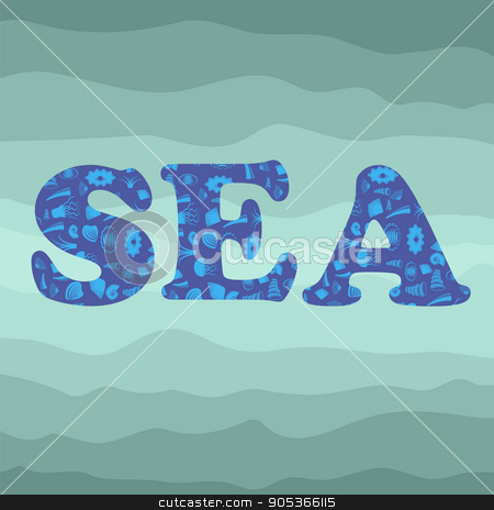 Shell Silhouette Decorative Letters Sea stock vector clipart, Sea Shell Silhouette Decorative Letters Sea on Azure. Ocean Background by valeo5