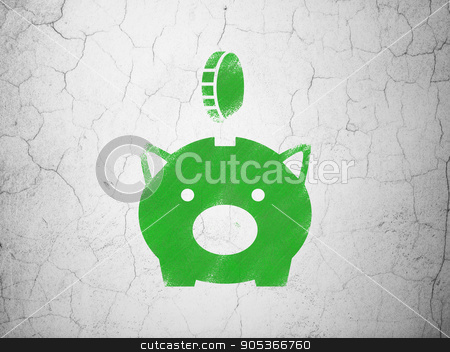 Banking concept: Money Box With Coin on wall background stock photo, Banking concept: Green Money Box With Coin on textured concrete wall background by mkabakov